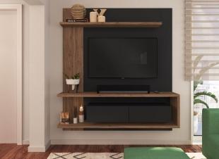 Painel Para Tv Est203 1,60 2 Portas C/ Espelho Preto/Madeirado Estilare Móveis
