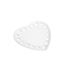 Porta Anéis de Ceramica Coração Branco 8370 Lyor