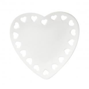 Porta Anéis de Ceramica Coração Branco Lyor