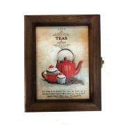 Porta Chá Madeira 6 Divisórias Chaleira Vintage Concept