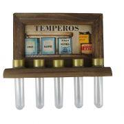 Porta Temperos Madeira 5 potes Latas Vintage Concept