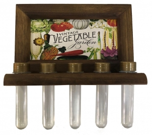 Porta Temperos Madeira 5 potes Vegetable Vintage Concept