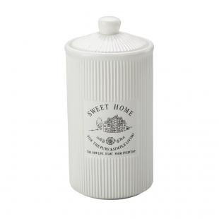 Pote De Porcelana Com Tampa Sweet Home 17,5cm Lyor