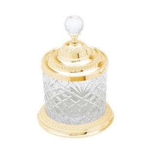 Pote Multiuso Cristal Zamac Dourado 16,5 cm Lyor
