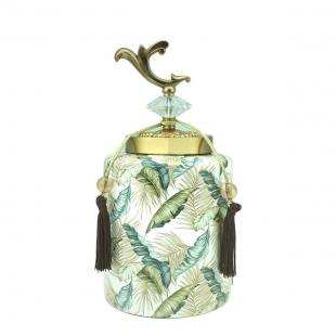 Potiche Decorativo Ceramica Folhas 60793 Rojemac