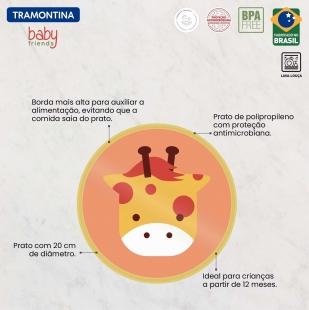 Prato Infantil Baby Friends em Polipropileno Amarelo Tramontina