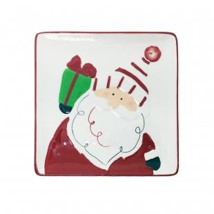 Prato quadrado Noel Natal Ceramica Toulouse Niazitex