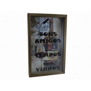 Quadro Porta Rolhas 34x54cm Madeira e Vidro Le Café Paris Vintage Concept