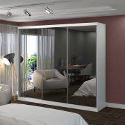 Roupeiro 3 Portas Com Espelho de Correr 2,64m Branco Foscarini