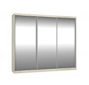Roupeiro 3 Portas Com Espelho de Correr 2,64m Marfim Areia Foscarini