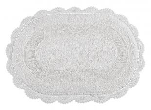 Tapete Croche Oval 60x90 Branco Kacyumara