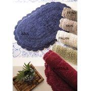 Tapete Oval Crochê 40 x 60 cm Azul Kacyumara