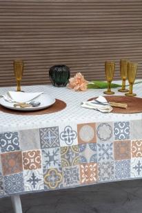 Toalha de Mesa 1,58x2,20m Linho Estampada Ceramic Kacyumara