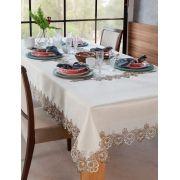 Toalha de Mesa Rendada Veneza 160x320  Bege/Branco/Fendi Jolitex