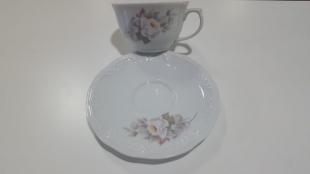 Xícara Chá Sem Pé 200ml c/Pires Eterna Porcelana Schmidt