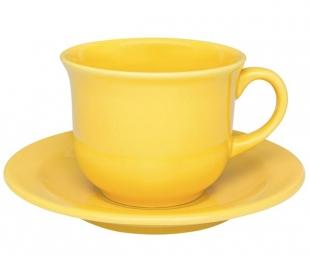 Xícara de Chá 200ml Com Pires 15cm Daily Floreal Yellow Oxford