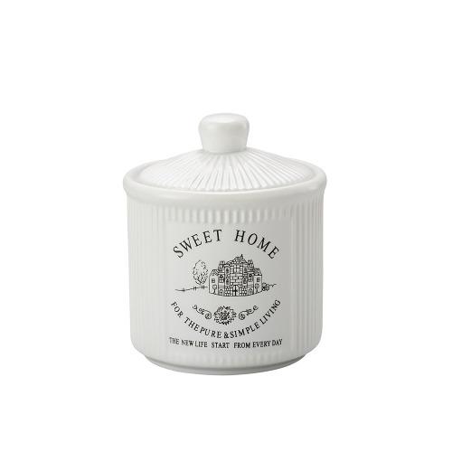 Pote De Porcelana Com Tampa Sweet Home 12,5cm Lyor