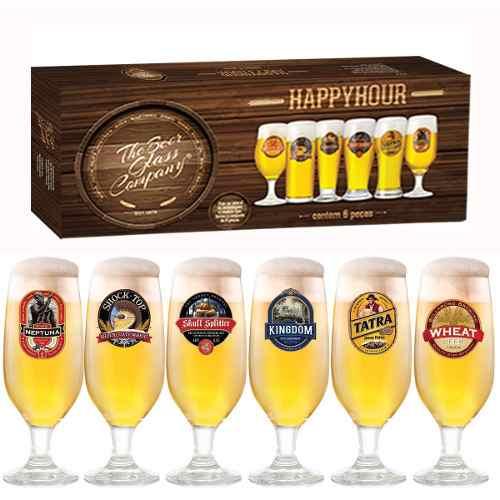 Jogo Taças Cerveja Barcelona Decorado 300ml 6 Peças Ruvolo