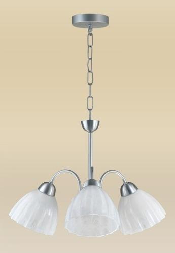Lustre Vesúvio Alumínio 3 Lâmpadas Vidro Branco Madelustre