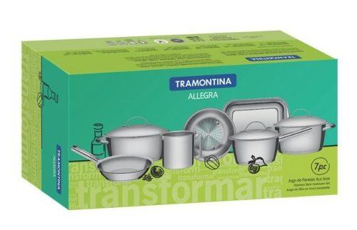 Conjunto De Panelas 7pc Inox Tramontina Allegra Fundo Triplo