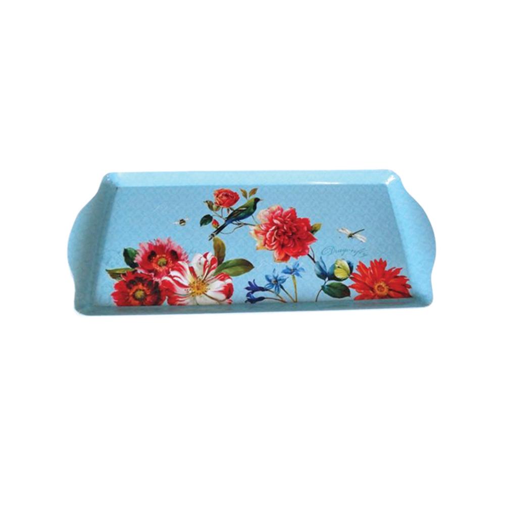 Bandeja Decorativa Plástica Vintage Sweet Flowers Azul Urban Brasil