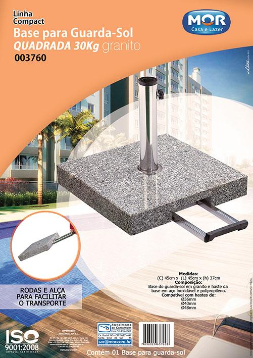 Base granito para guarda sol quadrado com rodinhas 30kg Mor