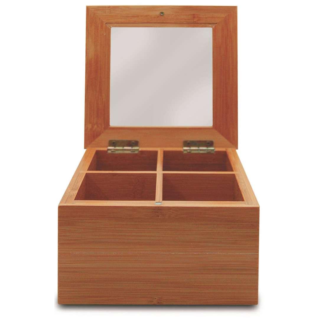 Caixa Porta Chá Bambu Com 4 Divisórias Yoi