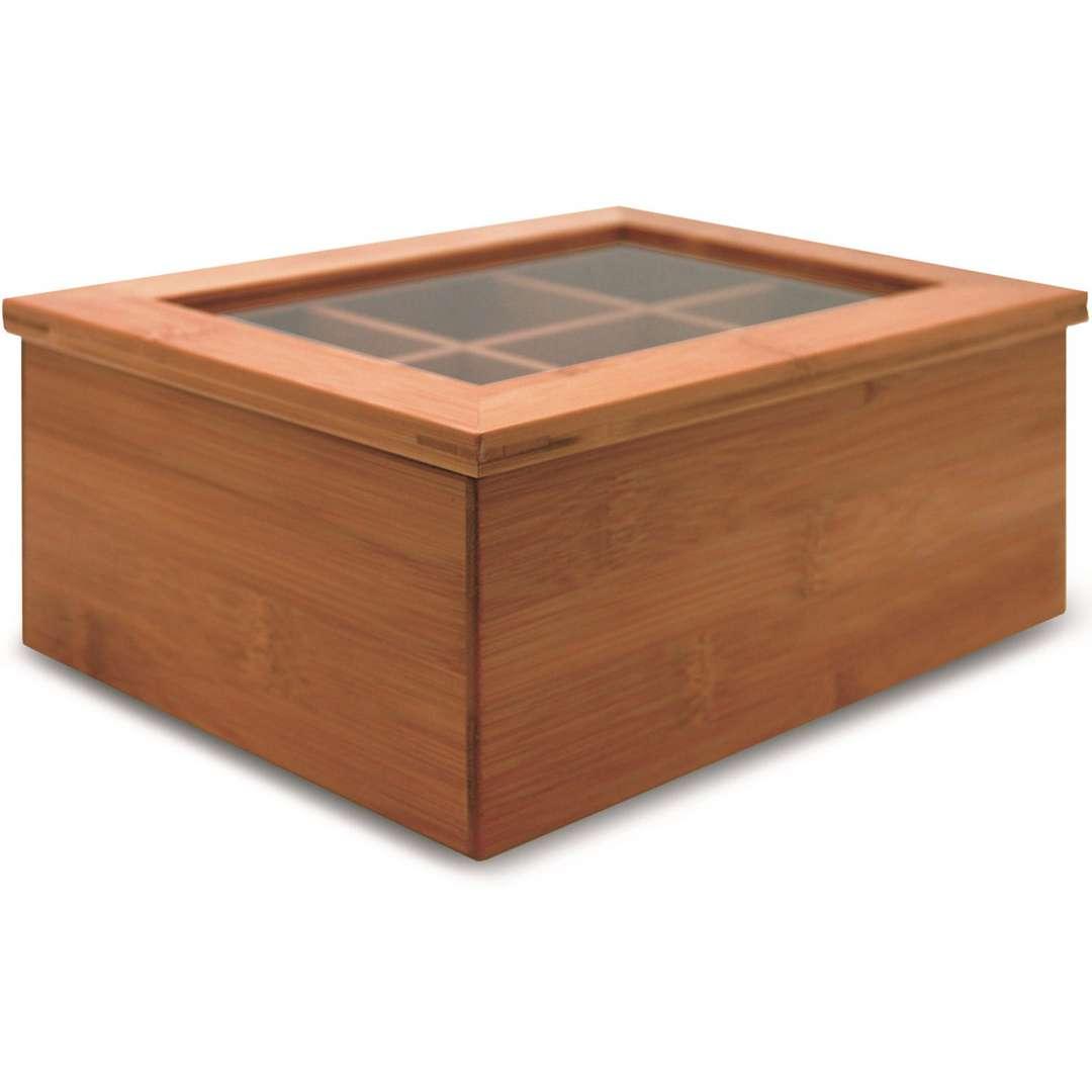 Caixa Porta Chá Bambu Com 6 Divisórias Yoi