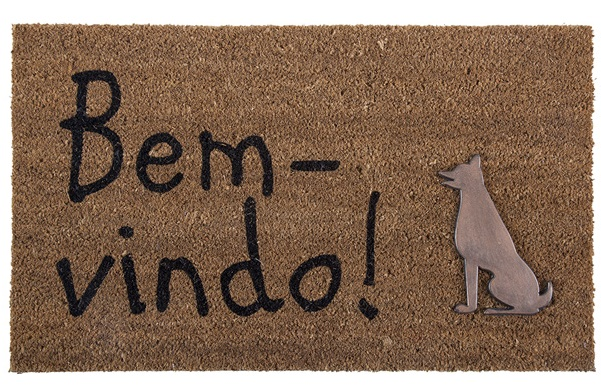 Capacho Fibra de Coco 45x75cm Arley Com Aplique Bloodhound Corttex