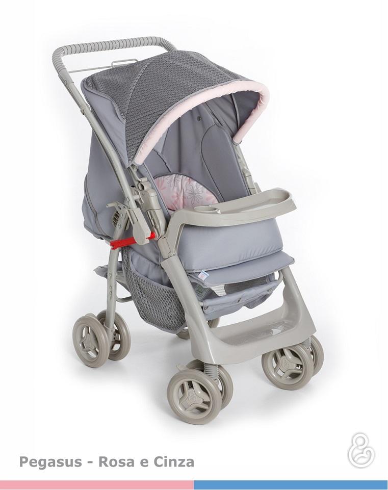 Carrinho Bebê Pegasus Cinza Rosa Galzerano