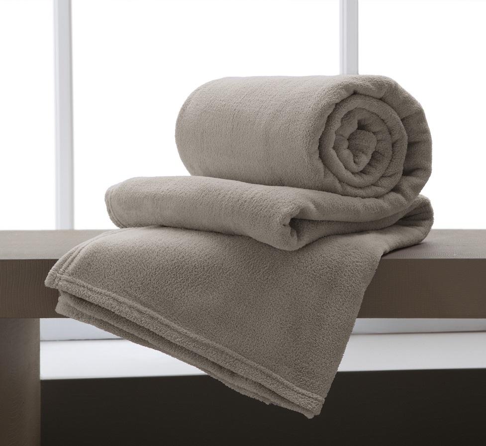 Cobertor Manta Microfibra Casal 180x220cm Home Design Bege Corttex