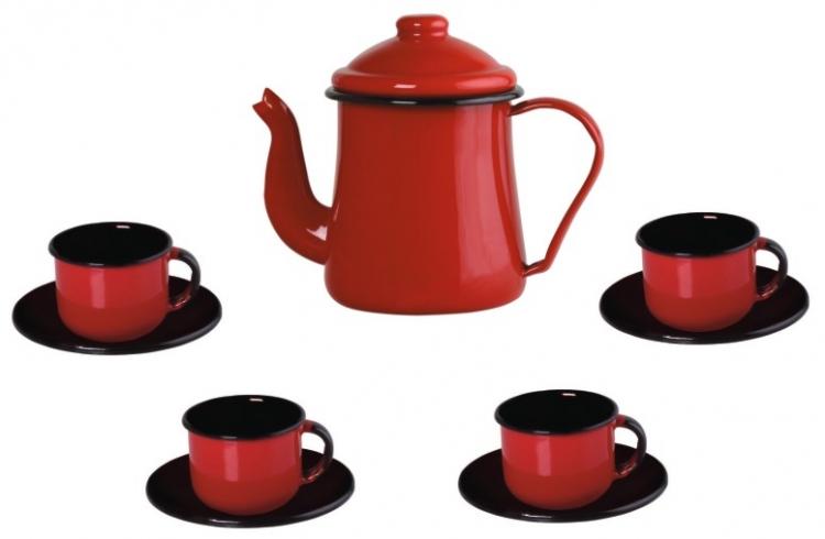Conjunto para café Bule 1L Xícaras 120ml esmaltado vermelho Ewel