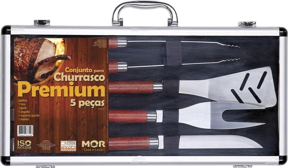 Conjunto para Churrasco Premium 5 peças com Maleta Mor