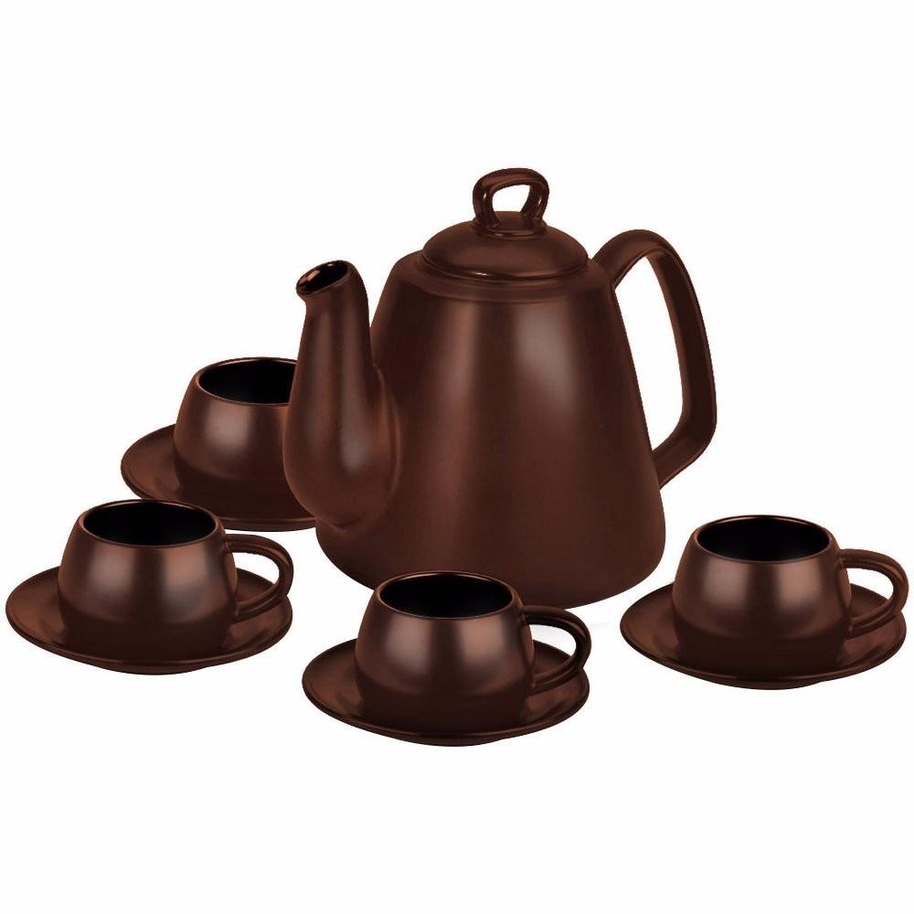 Conjunto Tropeiro Para Café 9 Pcs Chocolate Ceraflame