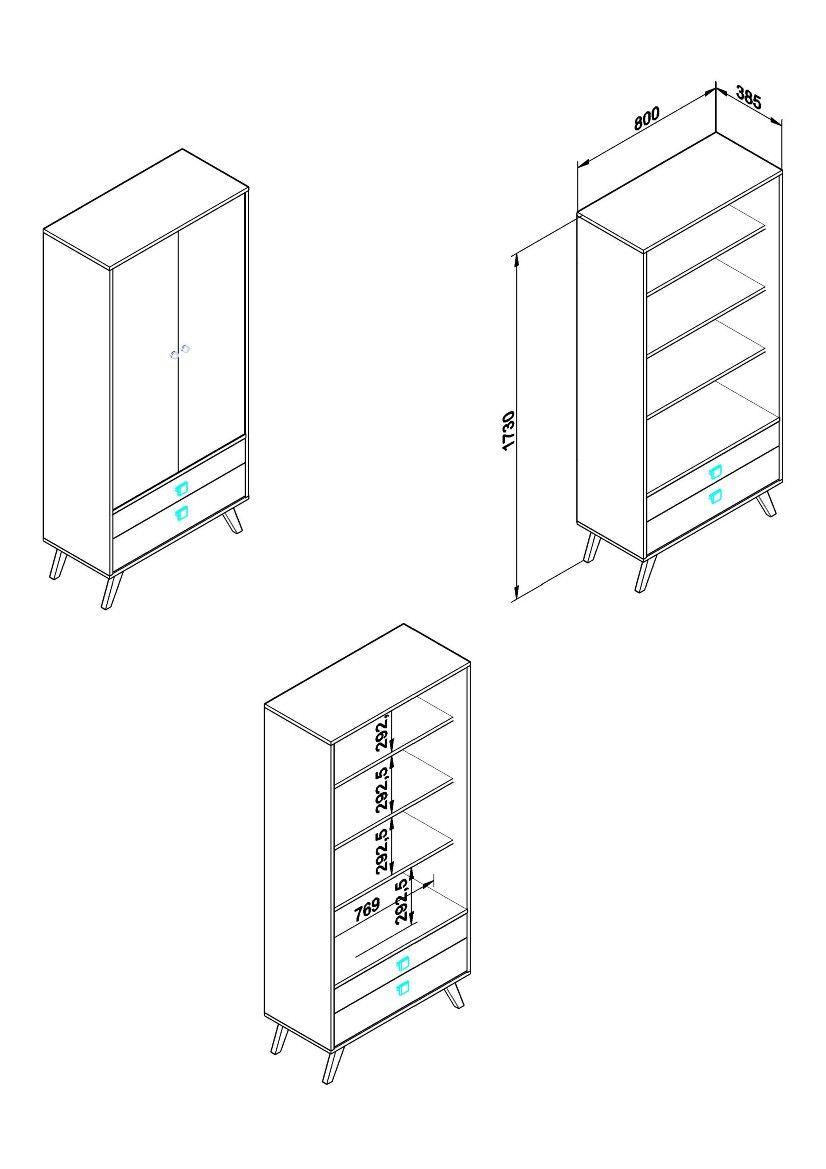Cristaleira Retrô Rústico/Branco 2Portas Vidro 2Gavetas Movelbento