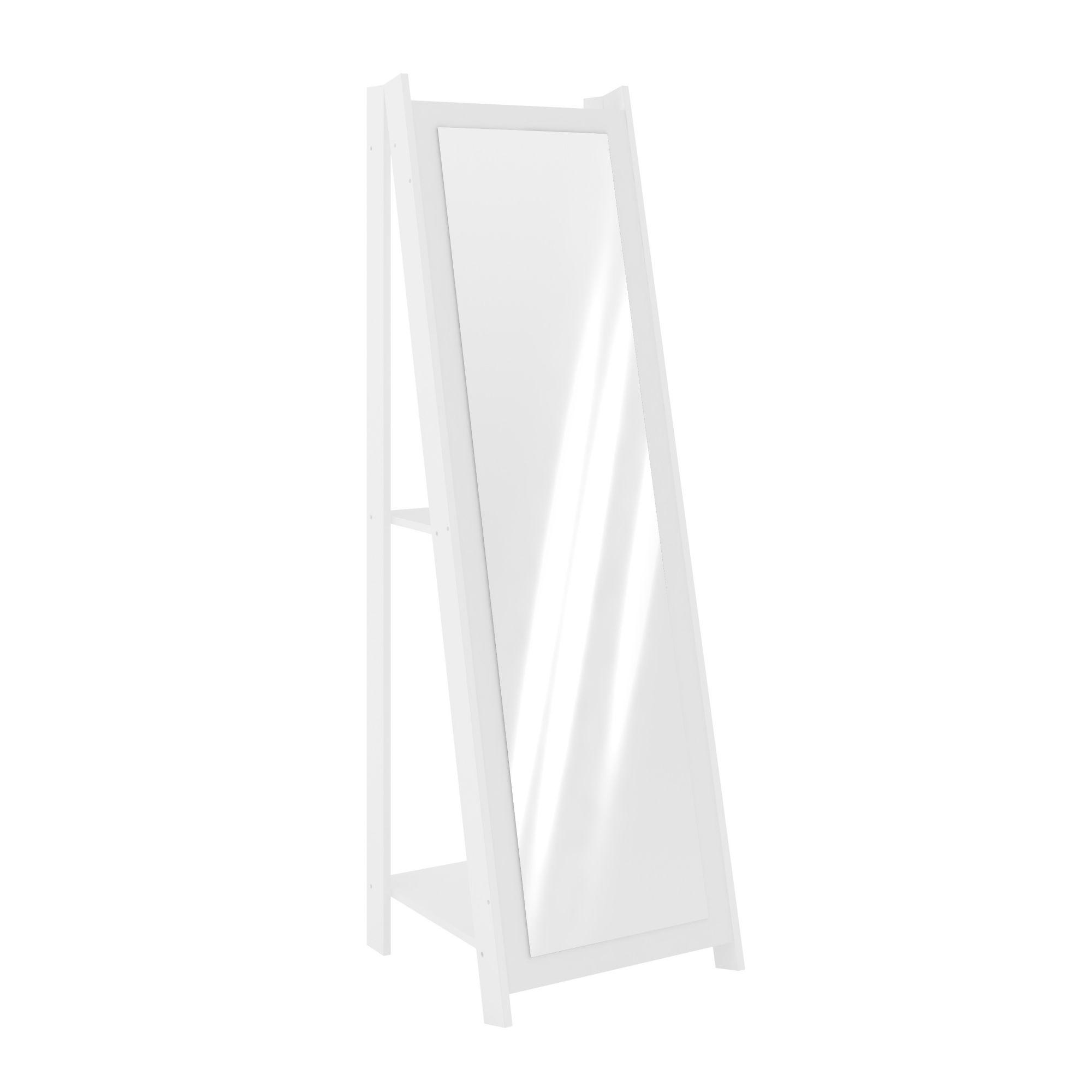 Espelho de Chão Branco com 2 Prateleiras Movelbento
