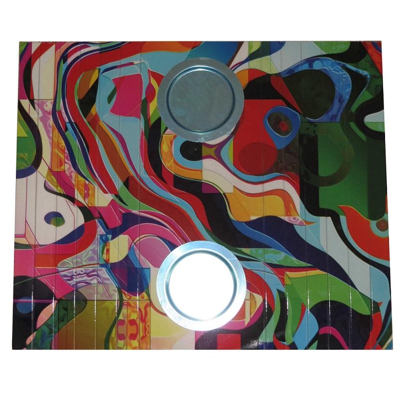 Esteira Estofado Estampada Com Porta Copo Colorido Abstrato Portal