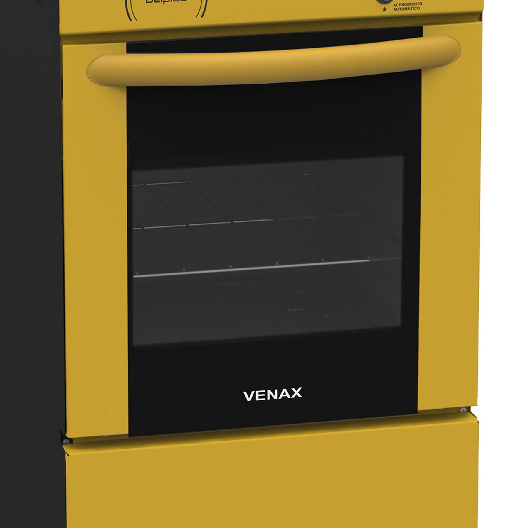 Fogão a Gás Del Plus Vítreo 4 Bc Amarelo GLP Venax