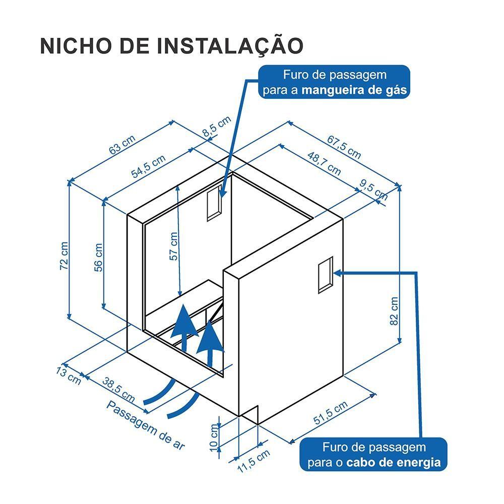 Fogão a Gás Embutir Gaudí Platinum Vítreo 4Q Inox GLP 110V Venax