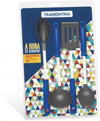 Jogo de Utensílios Easy 4 peças Nylon Azul Tramontina