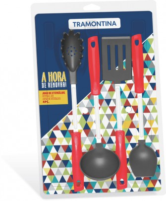 Jogo de Utensílios Easy 4 peças Nylon Vermelho Tramontina