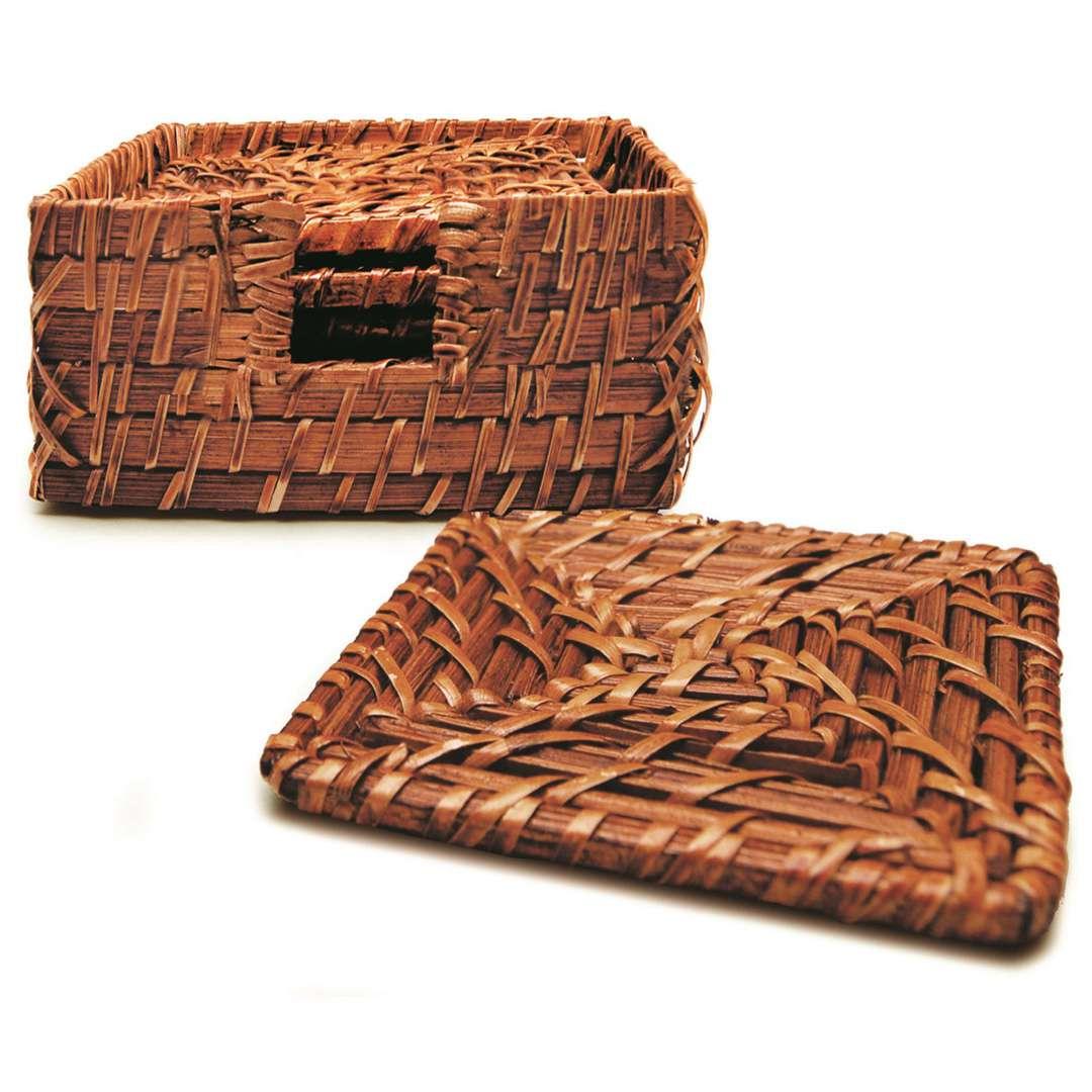 Jogo Porta Copos Rattan Tyft Organic 7 peças quadrado Yoi