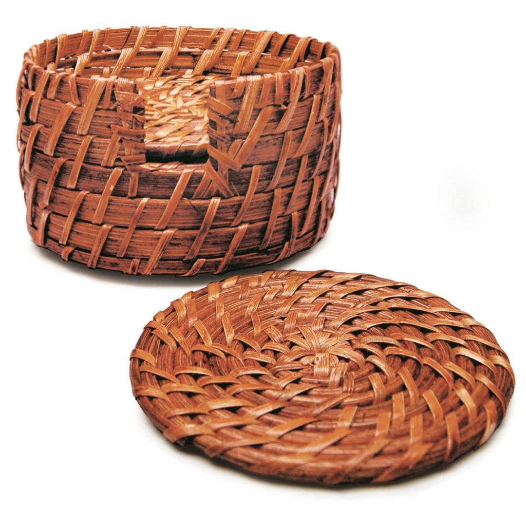 Jogo Porta Copos Rattan Tyft Organic 7 peças redondo Yoi