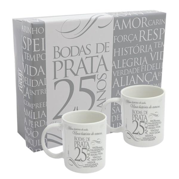 Kit 2 canecas Com Caixa Bodas de Prata Simas