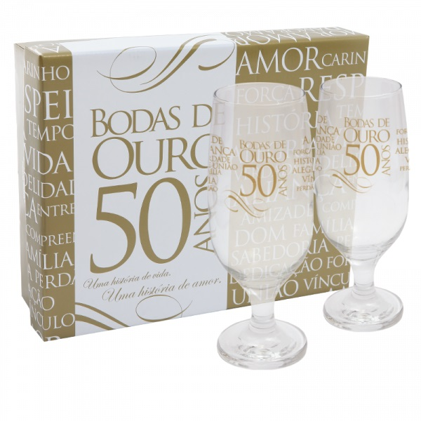 Kit 2 Taças Cerveja Hannover Com Caixa Bodas de Ouro Simas