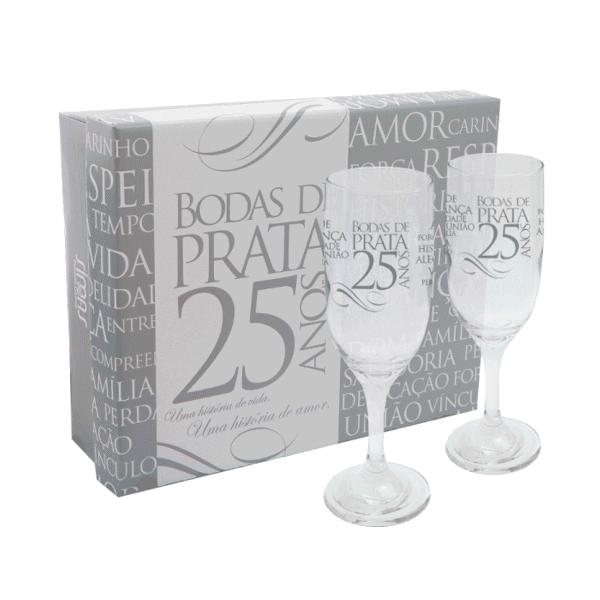 Kit 2 Taças Champagne Com Caixa Bodas de Prata Simas