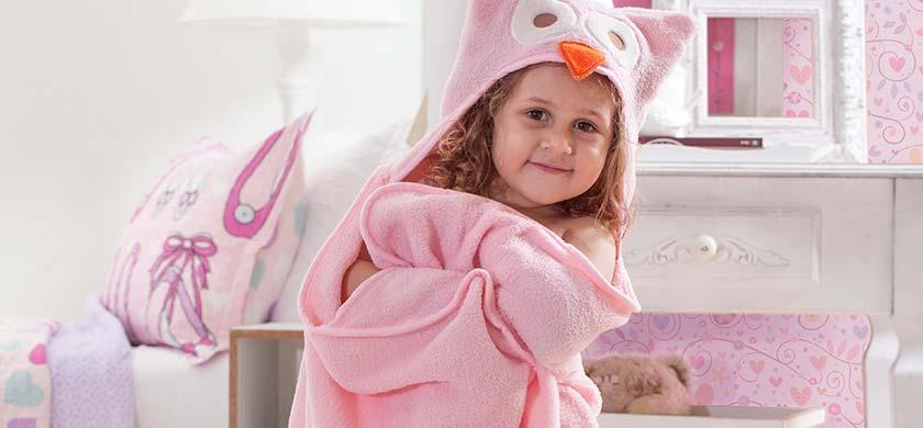 Manta Infantil Com Capuz Le Petit Fun Coruja Rosa Corttex