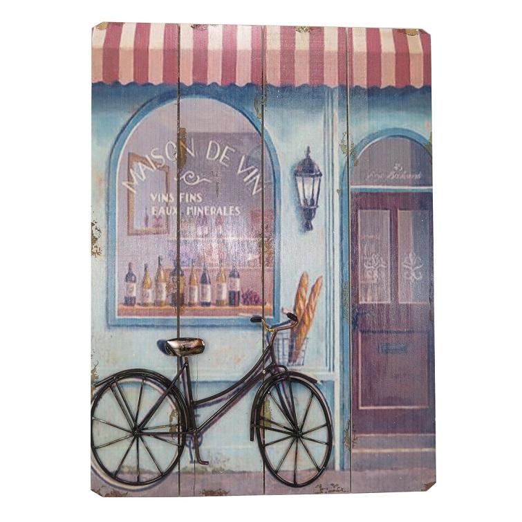 Placa Decorativa Bike Preta Madeira Metal 40x55cm Mabruk