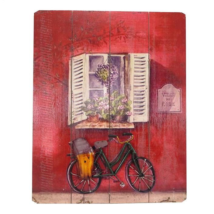 Placa Decorativa Bike Verde Madeira Metal 40x50cm Mabruk
