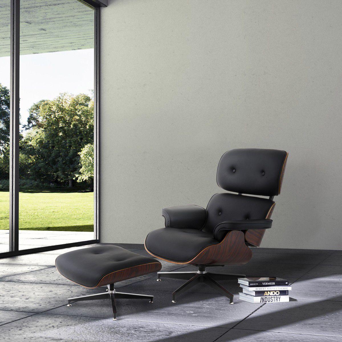 Poltrona com Puff Or Design Charles Eames Preto